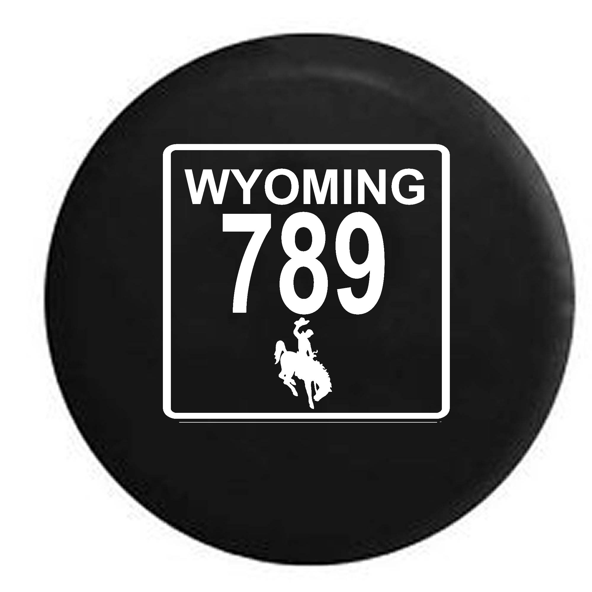 Wyoming State Route Highway 789 Cowboy Scenic Road Sign Spare Tire Cover Vinyl Black 29 in