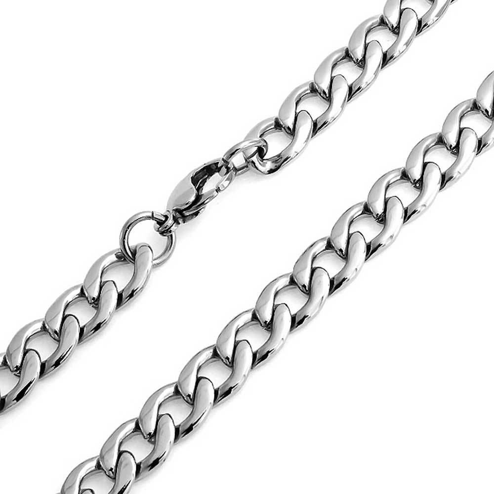 Bling Jewelry Steel Curb Cuban Wide Link Chain Necklace Gold Plated