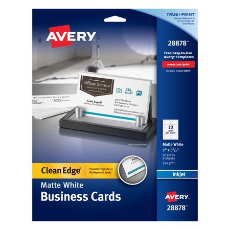 "Avery Clean Edge Business Cards, True Print Matte, Two-Sided Printing, 2"" x 3-1/2"", 90 Cards (28878)"