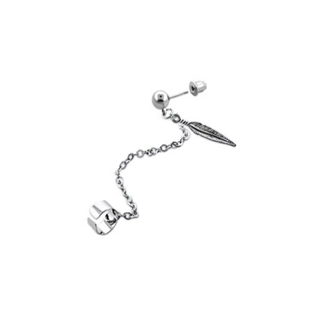 iJewelry2 Silver Tone Stainless Steel Links Chain Ear Cuff Earring with Feather Ornament