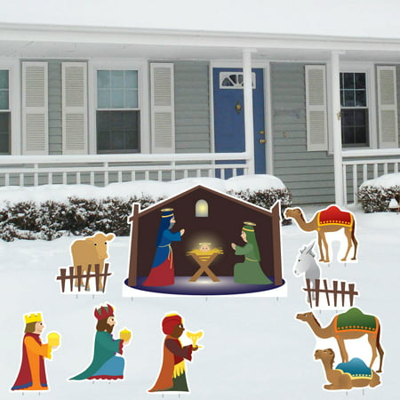 Nativity Scene - Christmas Yard Decoration Set - 8 Pcs Total with 17 Stakes - Christmas Scene Decorations