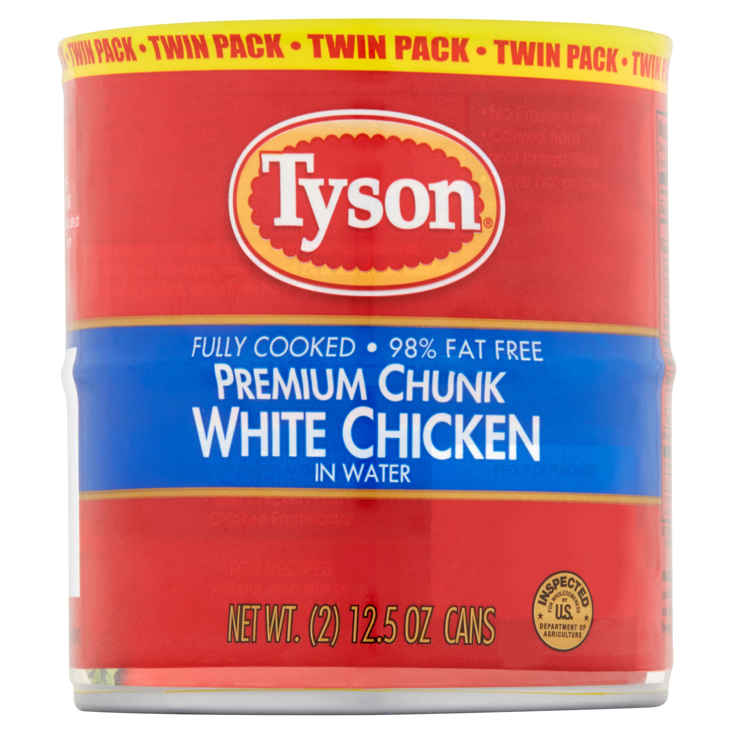 Tyson Premium Chunk White Chicken in Water Twin Pack, 2 count, 12.5 oz