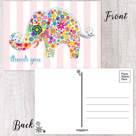 Colorful Elephant Thank You Postcard - 50 Thank You -