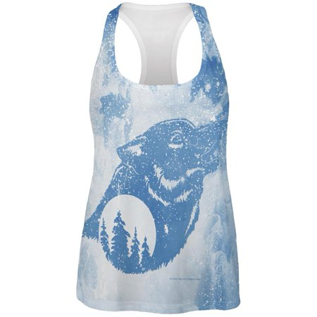 Distressed Blue Howling Wolf Silhouette All Over Womens Work Out Tank Top