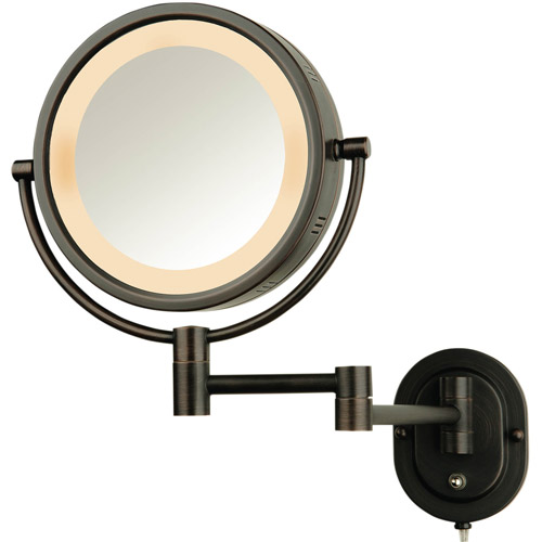 "Jerdon 8"" 2-Sided Swivel Halo-Lighted Wall Mount Mirror with 5x Magnification, 14"" Extension, Bronze"