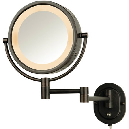 Jerdon 8 Quot 2 Sided Swivel Halo Lighted Wall Mount Mirror