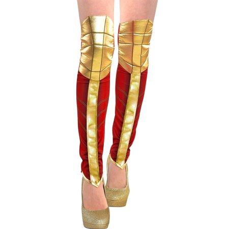 Suit Yourself Wonder Woman Leg Warmers for Adults, One Size, Feature Metallic Gold and Red Design to Look Like Boots