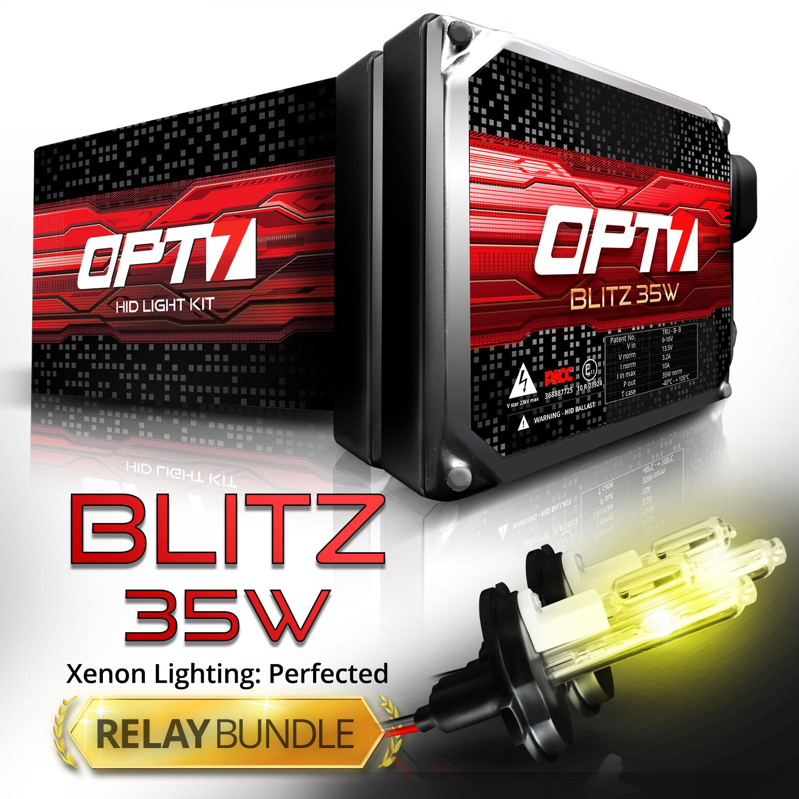 Blitz 35w HID Xenon Conversion Kit w/ Relay & Capacitors Bundle H13 Bi-Xenon [10000K Deep Blue] 2 Yr Warranty
