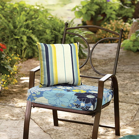 Mainstays Bell Gardens Floral and Stripe Outdoor Cushion Collection