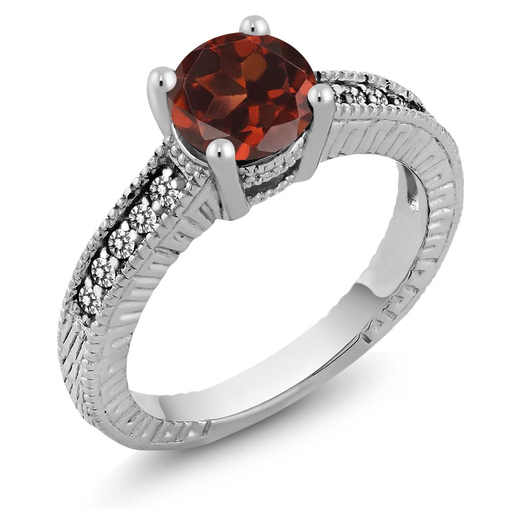 1.67 Ct Round Red Garnet White Diamond 925 Sterling Silver Engagement Ring