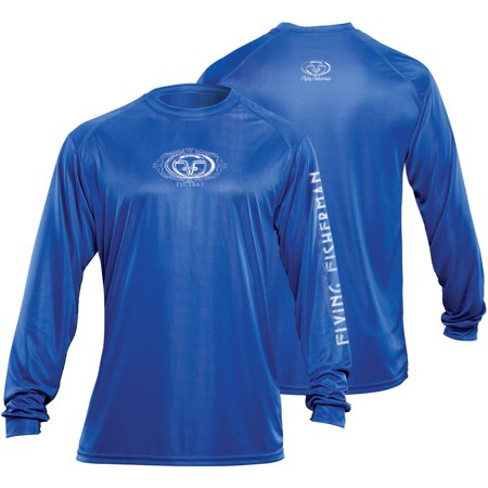 Flying Fisherman Tl1401Rl Logo L/S Performance Tee, Royal, L