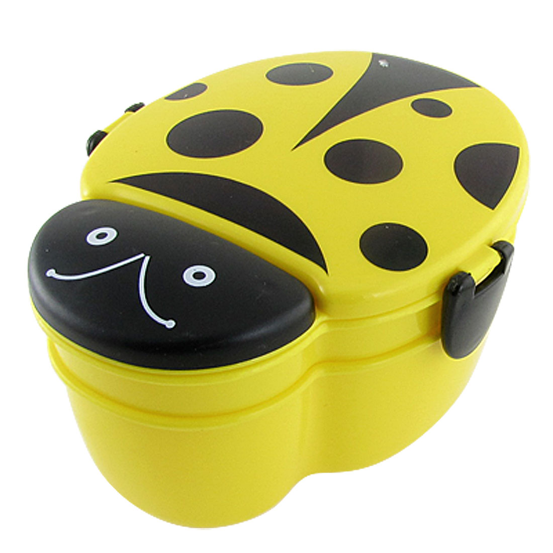 Child Yellow Black Plastic Beetle Dual Layer Dinner Pail Lunchbox