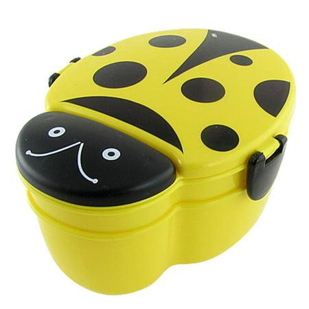 Unique Bargains Child Yellow Black Plastic Beetle Dual Layer Dinner Pail Lunchbox