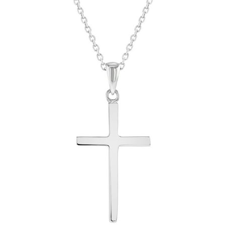 925 Sterling Silver Cross Necklace Pendant Plain Classic Traditional 18