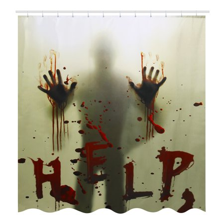 71x71 Inch Polyester Waterproof Scary Help Bloody & Silhouette Shadow Bath Shower Curtain for Halloween Decoration Prop Home Bathroom Decoration Theme Decor ()