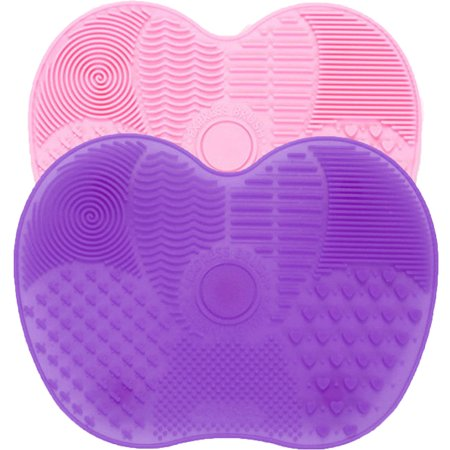 2Pcs Silicone Butterfly Shape Makeup Brush Cleaner Pad Washing Scrubber Board Cleaning Mat Hand
