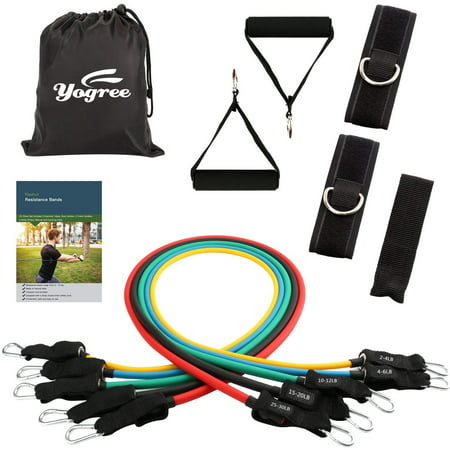 yogree Resistance Bands - 12-Piece Set Includes 5 Exercise Tubes, Door Anchor, 2 Foam Handles, 2 Ankle Straps, Manual and Carrying (Best Door Exercise Equipment)