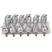 12 Pcs Glitter Artificial Simulation Foam Bird Mini Cute Birds Ornaments DIY Craft for Christmas Tree Wedding Decoration