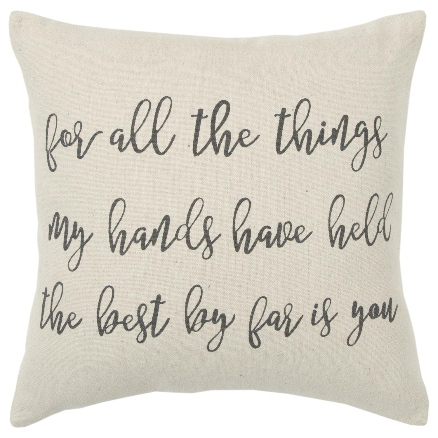 """Rizzy Home Holiday """"For All The Things"""" Poly Filled Decorative Throw Pillow, 20"""" x 20"""", Natural"""