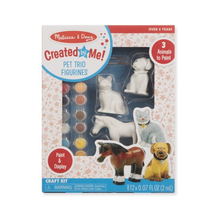 Melissa & Doug Created by Me! Pet Figurines Craft Kit (Resin Dog, Cat, Horse, 12 Paints, 2 - Dog Craft