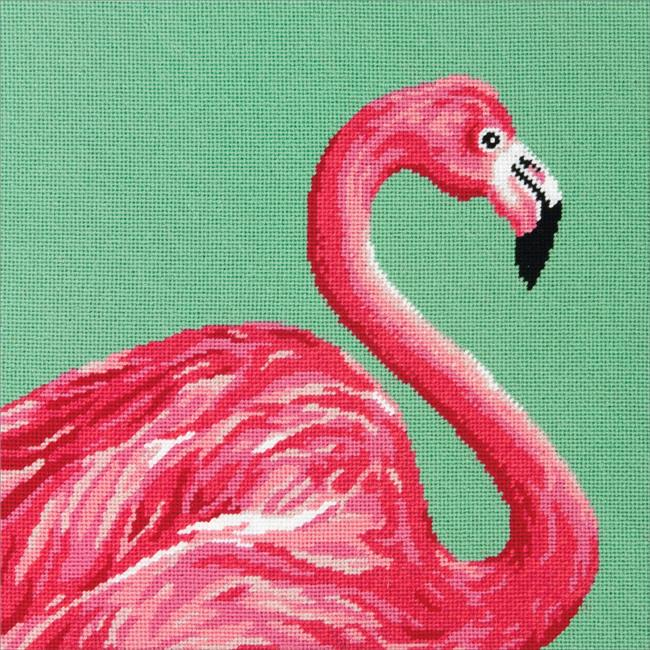 Dimensions 71-20086 14 x 14 in. Pink Flamingo Needlepoint Kit - image 1 de 1