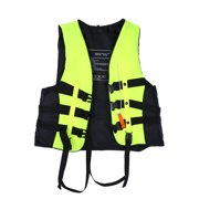 Qiilu Child and Adult Swimming, Kayaking and Boating Life Vests +Whistle, Blue/Green/Orange