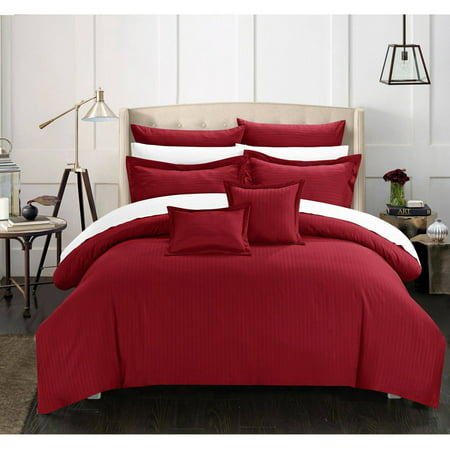 Chic Home 11-Piece Keynes Down Alternative Jacquard Striped Comforter Set