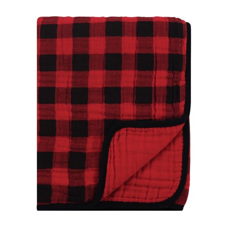 Hudson Baby Four Layer Muslin Tranquility Blanket, Buffalo Plaid