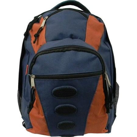 Student Bookbag Medium Daily Backpack Student School Bag 16.5 inch Casual Travel Daypack w/ Padded Back, Padded handle, Organizer & Side Mesh Pockets Navy/Orange