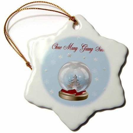 3dRose Snow Globe Deer, Tree and Snowflakes, Merry Christmas in Vietnamese - Snowflake Ornament, (Deer Snowflake)