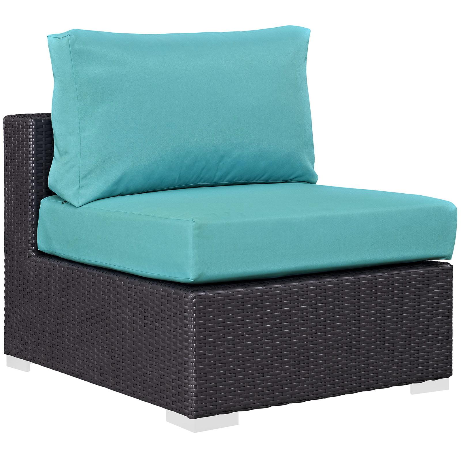 Modern Contemporary Urban Design Outdoor Patio Balcony Lounge Chair, Blue, Rattan