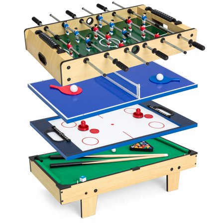 Best Choice Products 4-in-1 Multi Arcade Competition Game Table Set w/Pool Billiards, Air Hockey, Foosball, Table Tennis (Cherry Dining Room Game Table)
