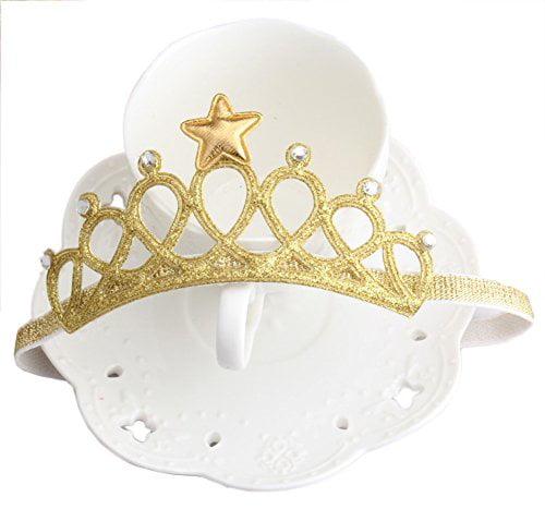 5 PCS Crown Princess WolinTek Princess Hair Hoop,Kids Princess Tiara Elastic Hair Band Sparkling Crown Headband,Girls Headbands