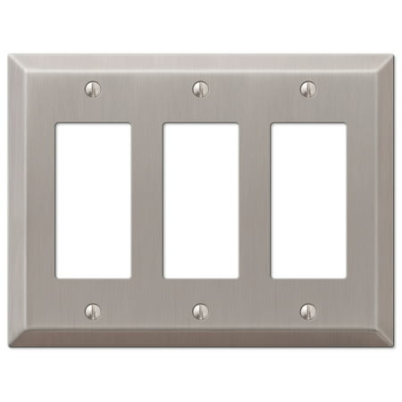 Triple GFCI Rocker 3-Gang Decora Wall Switch Plate, Brushed Nickel