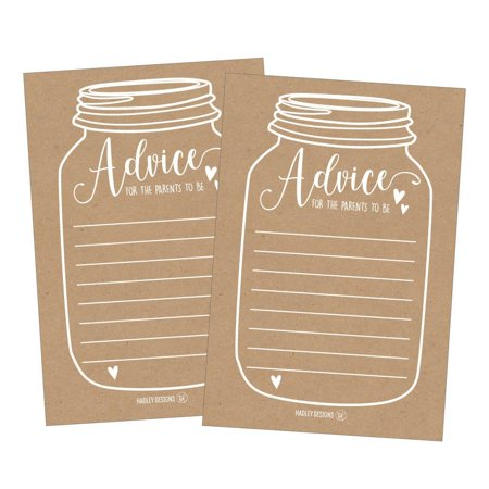 25 Rustic New Parent Advice Cards For Baby Shower Game Activities Ideas, Expecting Mommy Words of Wisdom Messages for Parents To Be Boy Girl Co-Ed Couples Gender Reveal Keepsake Alternative (Best Baby Reveal Ideas)