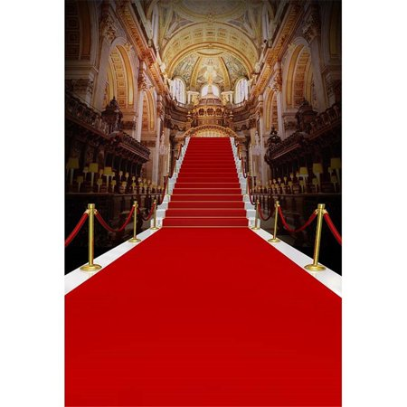 GreenDecor Polyester Fabric Gold Palace Photography Background Wedding 5x7ft Red Carpet Photography Background Wedding Newborn Backdrops](Red Carpet Backgrounds)