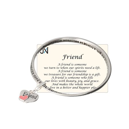 Silver-tone Friend Twist Bangle Bracelet with Friend Heart Charm by Jewelry Nexus