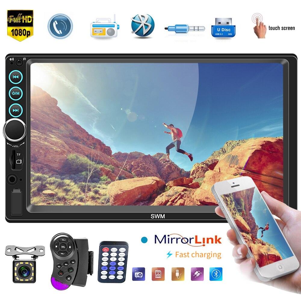 7/'/' 2Din MP5 Player Bluetooth Hands Free FM//TF//USB Mirror Link/& 8LED Rear Camera