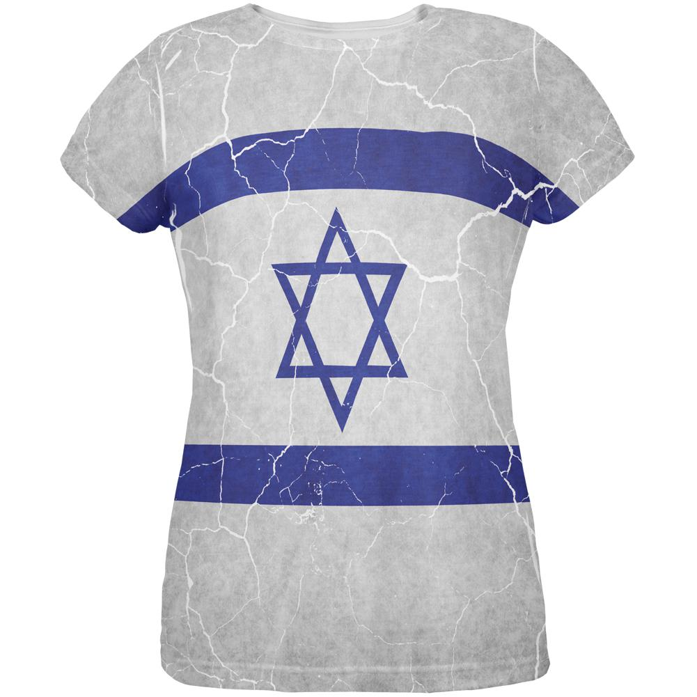 Distressed Israeli Flag All Over Womens T Shirt