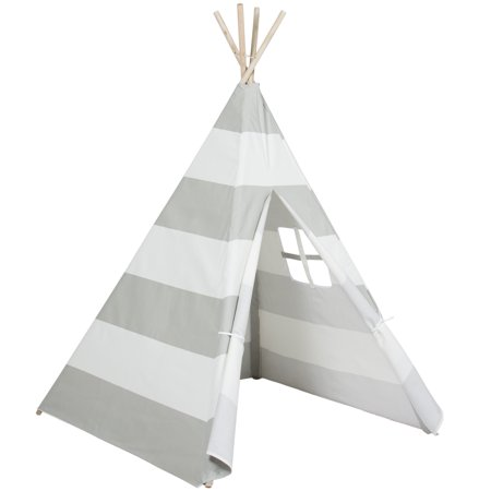 Best Choice Products 6ft Kids Stripe Cotton Canvas Indian Teepee Playhouse Sleeping Dome Play Tent w/ Carrying Bag, Mesh Window - White/Gray