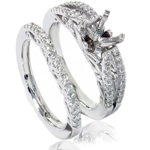 3/4ct Vintage Diamond Engagement Ring Bridal Set 14K White Gold