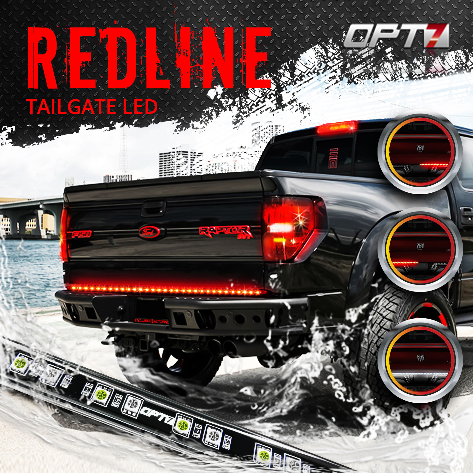 60 Redline LED Tailgate Light Bar TriCore LED Weatherproof