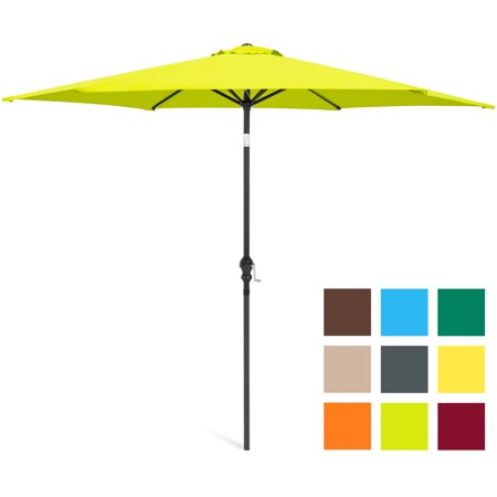 Best Choice Products 10-foot Outdoor Table Compatible Steel Polyester Market Patio Umbrella with Crank and Easy Push Button Tilt, Light Green ()