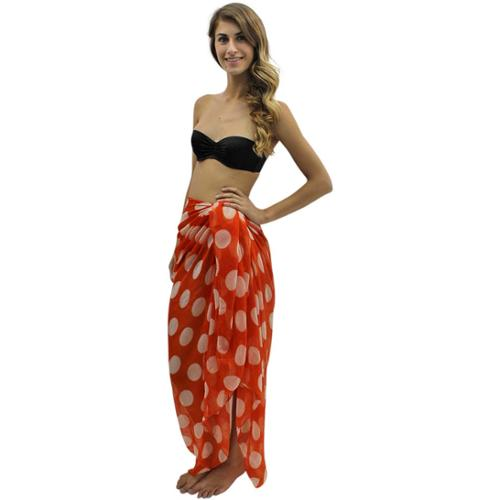 Luxury Divas Orange & White Big Polka Dot Oversize Pareo Wrap
