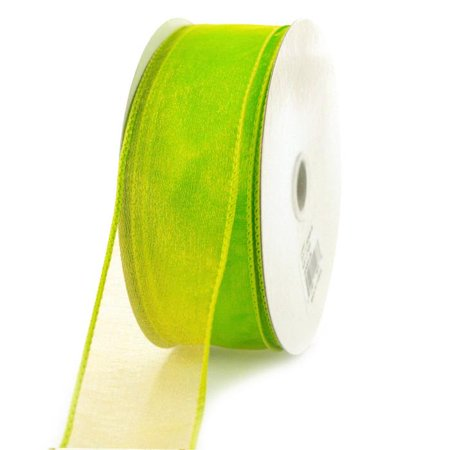 Sheer Chiffon Ribbon Wired Edge, 1-1/2-inch, 25-yard, Lime Green - Lime Green Ribbon