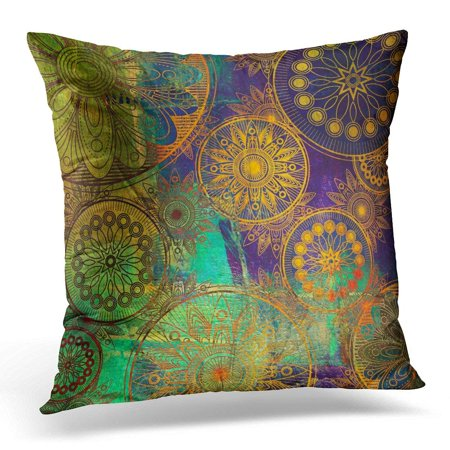 ARHOME Colorful Circle Damask Floral Grunge Pattern in Gold Orange Green Blue and Violet Colors Painting Pillows case 20x20 Inches Home Decor Sofa Cushion Cover