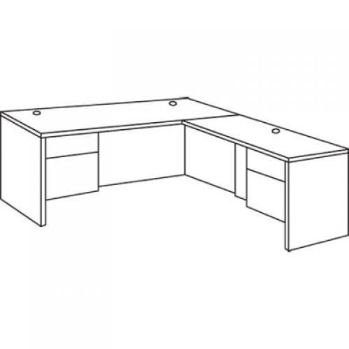 HON 10500 Series L Workstation Single Pedestal Desk with 3/4 Height Pedestal
