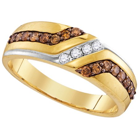 Size 10 - 10k Yellow Gold Mens Round Chocolate Brown Diamond Wedding Anniversary Band Ring (1/3 (Cleveland Browns Ring)