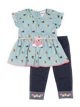 Little Lass Floral Smocked Sleeve Top and Embroidered Knit Denim Legging, 2-Piece Outfit Set (Little Girls)