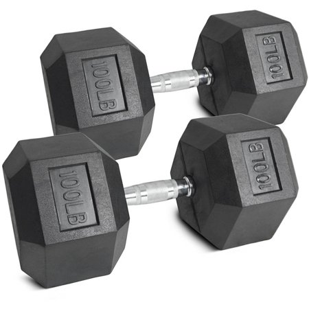 - Pair of 100 lb Black Rubber Coated Hex Dumbbells Weight Training Set, 200 lb